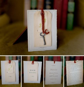 Save the Date cards using keys and recycled paper