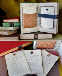 Gorgeous invitations using re-purposed books
