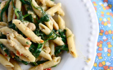 Meat Free Mid Week Recipe – Penne with White Beans and Spinach