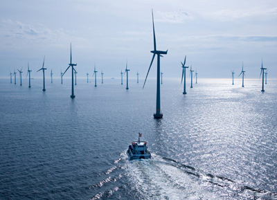 Lillgrund Offshore Wind Farm - Service ship en route to the wind farm