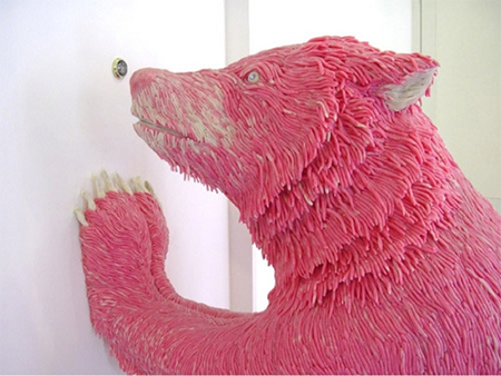 Italian artist Maurizio Savini, creates amazing sculptures from regular pink chewing gum.