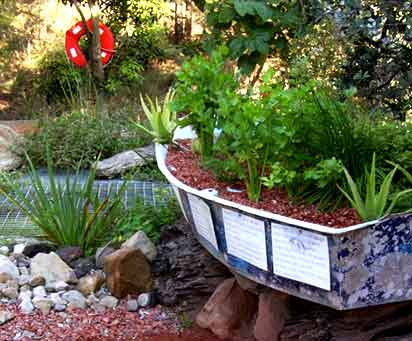 Recycled boat gets a new life as a growbed for plants