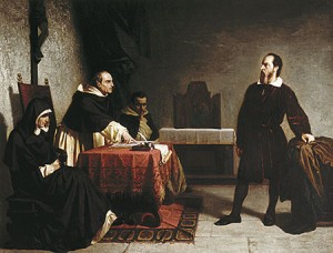 "A detail from Cristiano Banti's Galileo Before the Inquisition (1857). A new Australian political effort draws inspiration from Galileo's stand against dogma as they fight the orthodoxy of ""settled"" climate science. Image courtesy Museo Galileo."